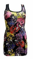 NEW LADIES UNIQUE MULTI TARTAN SKULLS PRINT LONG VEST TANK TOP GOTH PUNK EMO