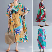 ZANZEA Women Summer T-Shirt Dress Floral Print Long Shirt Dress Sundress Plus
