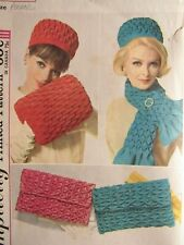 Rare VTG 60s SIMPLICITY 4711 Smocked Hat Muff Clutch Bag & Scarf PATTERN OS