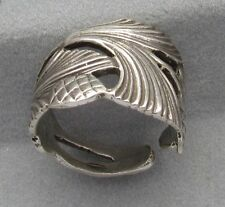 Sterling Silver Oxidized Spoon Adjustable Ring,Vintage Edith Flower Design, 925