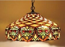 Tiffany Style Pendant Light Stained Glass Art Handcrafted Ceiling Lamps Vintage