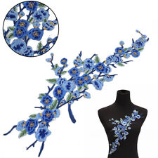Blue Flower Embroidery Sew Iron On Patches Badge Jeans Dress Applique Craft DIY