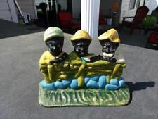 CAST IRON HUBLEY DOORSTOP 3 BOYS EATING WATERMELON BLACK AMERICANA