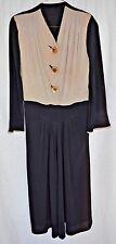 Vintage 1940s 1950s Beige Black Dress Celluloid Rhinestone Buttons Size Medium