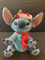 "Disney Parks Santa Lilo and Stitch Plush 12"" Christmas Hat Scarf"