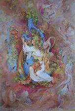 "Large Persian Mahmoud Farshchian Painting Lithograph Print Fine Art 13"" x 9.5"""