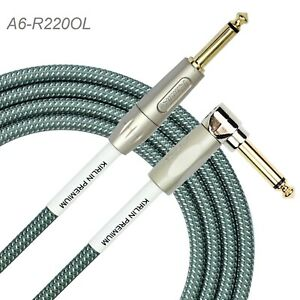 "20ft 1/4"" TS R/A Premium Plus Instrument Cable, Olive Green Tweed Woven Jacket"