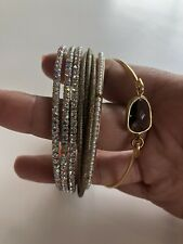 Women's Jewelry Bracelet Mix Lot Of 4 Bangles Silver Gold Rhinestone Pearl
