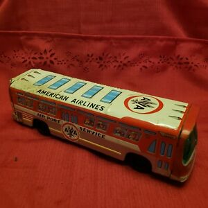 """Vintage Tin AMERICAN AIRLINES AIRPORT SERVICE BUS Friction Toy Taiyo Japan 11"""""""