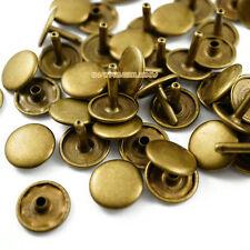 150 set 15*12mm Antique Brass Double Cap Round Rapid Rivet Leathercraft Rivet
