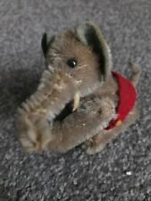 Schuco Noahs Ark Elephant Mohair Plush Metal 1950s 6cm 2.5in Jointed no tusks