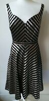 KAREN MILLEN DRESS UK10 EU38 US6 black silver fit & flare 1950s 1960s rockabilly