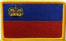 Liechtenstein Flag Patch With VELCRO® Brand Fastener Gold Emblem