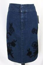 Liz Claiborne Denim Jean Skirt size 16 Blue Magic Velvet Flowers