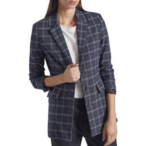 Current/Elliott Womens Beaufort Woven Plaid Three-Button Blazer Jacket BHFO 3962