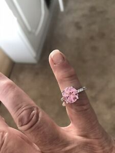 """STUNNING STERLING SILVER R/P PINK/CLR CZ RING SIZE """"L"""""""