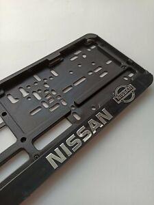 """Black """"Nissan"""" EURO LICENSE PLATE TAG HOLDER MOUNT ADAPTER BUMPER FRAME BRACKET"""