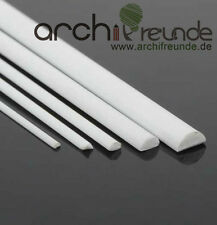 5 Stk. ABS Halbrundstab, 1,0 mm x 500 mm Modellbau Stab, kunststoff, weiß