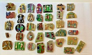 COLLECTIBLE LOT of 37 PINS By LUCINDA YATES-Little People Women Designs! Lot#4