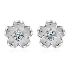 Flower Girl Elegant Ear Stud Earrings Women Silver Plated Cherry Round Crystal