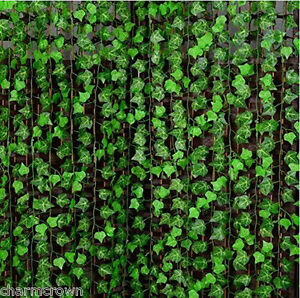 8ft Artificial Silk Green Leaf Garland Vine Ivy Flower String Wedding Home Decor
