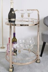 Contemporary Serving Drinks Chrome Metal Trolley Round Glass Storage Shelve