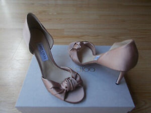 $795 Jimmy Choo Kitty Peep Toe Sandals D'orsay Knotted Satin Pumps 40 US 10 NEW