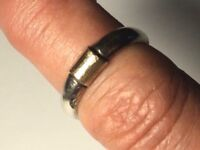 Vintage Sterling Silver 14K Detail Band Ring Size 6.75 x 4.8mm Wide 3.46g