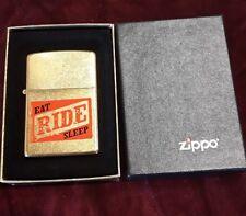 "Vintage Brass Zippo Lighter  ""EAT SLEEP RIDE""  New in Box"