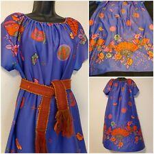 True Vintage 70s Purple Muumuu Housedress Dress Butterflies Poly Psychadelic.