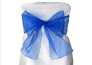 """12PCS Organza Chair Bows Sheer Sashes Banquet Wedding 9""""x120"""" 10FT  17 Colors"""
