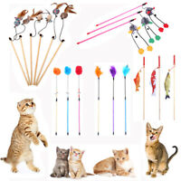 Funny Pet Cat Kitten Teaser Rod Wand Stick Chaser Wire Play Toy Interactive