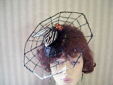 Black Halloween Spider Web Fascinator Steampunk Hat Fly Halloween Party