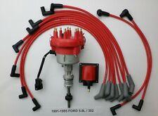 1991-1995 FORD 5.0L 302 EFI DISTRIBUTOR + 45K COIL + RED  SPARK PLUG WIRES USA!!