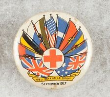 World War I 1917 Australian Red Cross Dieu Defend Le Droit Pinback Button Badge