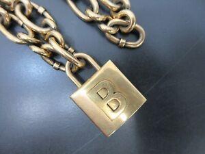 Authentic BALENCIAGA Lock Chain Necklace B Logo Gold Plating Good Box 94982 B