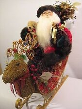 VICTORIAN CHRISTMAS SANTA CLAUS IN REINDEER SLEIGH / BOMBAY COMPANY