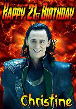 Los Vengadores LOKI THOR/Tom Hiddleston felicitación Personalizada Feliz Cumpleaños Tarjeta De Arte