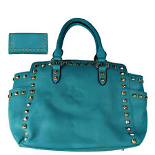 TURQUOISE STUDDED LEATHERETTE LOOK SHOULDER HANDBAG WITH TRIFOLD WALLET NEW