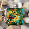 Butterfly animals Art Cabochon Glass Silver Tile Chain Pendant Necklace Jewelry