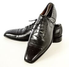 Men's FLECS Black Whole Cut leather Medallion Cap Shoes Made in Italy 43.5, 9.5
