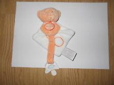 DOUDOU ET COMPAGNIE mon petit ourson orange NEUF attache tétine
