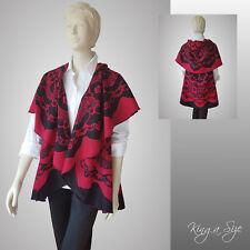Poncho Lagenlook Cape Damen warme Wende Tweed Umhang RUND rot schwarz *