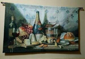 Delft Tiles Wine Cabernet Cheese Charcuterie Tapestry Wall Hanging Raymond Campb