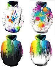 Womens Mens Casual Long Sleeve Paint Splatter Drip Hoodie Sweatshirt PLUS S-5XL