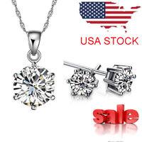 New Women Cubic Zirconia Pendant Necklace Stud Earrings Jewelry Set US Seller