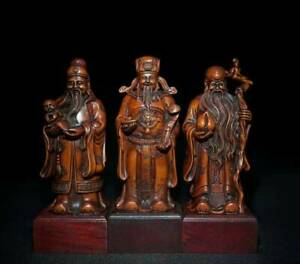 Chinese Natural Boxwood Hand carved Exquisite Statue 32560