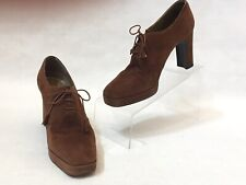 Stuart Weitzman Brown Suede High Heel Platform Oxford Tassel Loafers Size 8 B