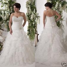 Ruffles Plus Size 2018 Bride White/Ivory Wedding Dress Ball Bridal Gown Custom