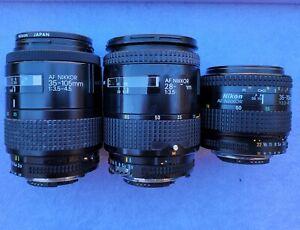 3x Untested Unchecked Nikon AF-Nikkor Vintage Camera Lens 35-105mm BL240